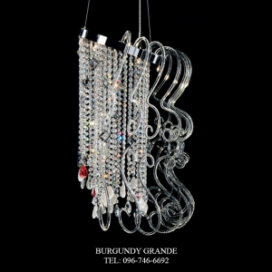 2200/8, Luxury Crystal Hanging Lamp from Italy